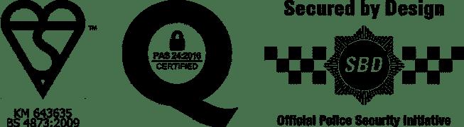 Kitemark PAS24 SecuredbyDesign Logos
